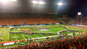 "Marching band during ""Welcome Home Heroes"" game at the Arizona Wildcats football stadium."